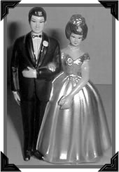 An antique wedding cake topper circa. 1950